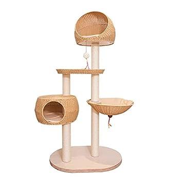 YAMMY Grand Cadre d'escalade d'arbre à Chat en rotin avec nid de Chat et Plate-Forme de Saut et Plate-Forme de Saut de Chat Jouet Suspendu Multil (Arbre à Chat)