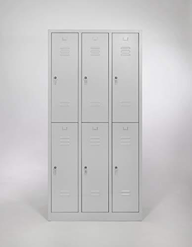 furni24 Garderobenschrank Schließfach Spind Umkleideschrank Kleiderschrank Abteilbreite 30 cm 6-türig fertig montiert Verschiedene Ausführungen verfügbar