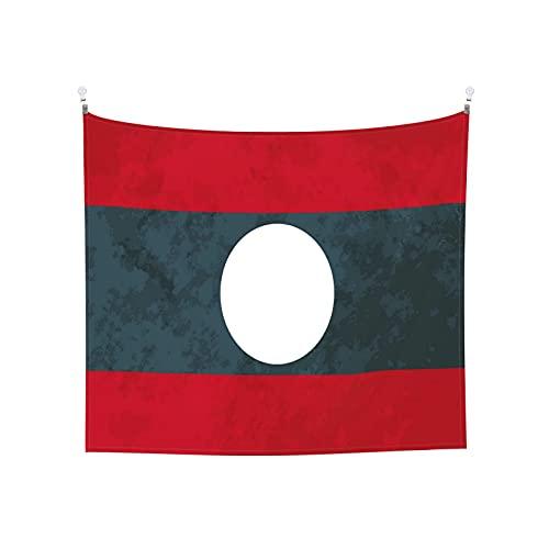 True Proportions Wandteppich, Motiv: Laos Flagge, Tarot-Boho, beliebt, mystisch, Trippy Yoga, Hippie, Wandteppiche für Wohnzimmer, Schlafzimmer, Wohnheim, Heimdekoration, schwarz & weiß