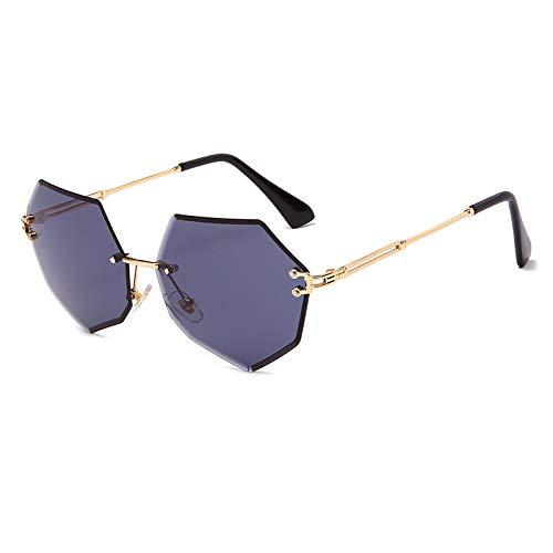 NJJX Gafas De Sol Sin Montura De Moda Gafas De Sol De Metal Para Mujer Gafas De Sol De Polígono Con Personalidad 05