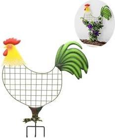 "popular SkyMall discount Decorative 22.4"" Metal Rooster outlet sale Plant Trellis online"