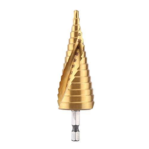 TOPINCN Stap Boor Hoge Snelheid Staal HSS Titanium Gecoat Spiraalfluit 1/4