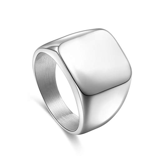 holilest Ring, 1PC Men Solid Polished Stainless Steel Band Biker Men Signet Ring-Silver -9