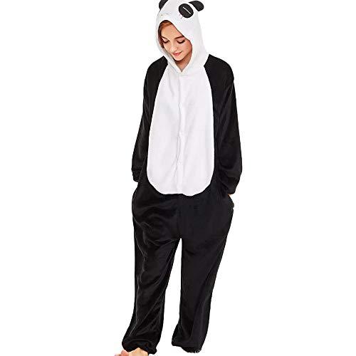 MEIbax Pijama Animal Unicornio Entero para Adultos Pijama Mono Animal para Mujer Disfraz para Navidad con Capucha Invierno Franela de Manga Larga de Panda Estampada