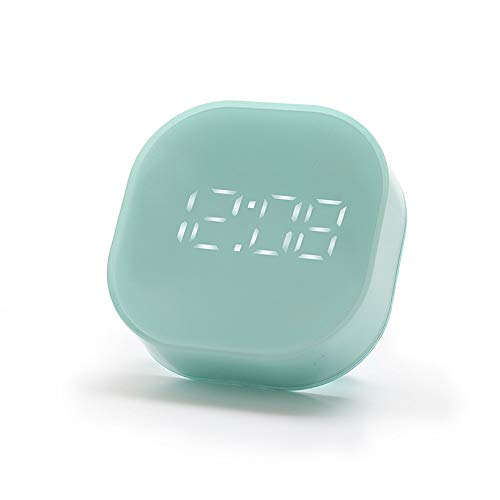 ChengBeautiful Küchen-Timer Elektronische Uhr Küchenuhr Wecker Dual-Alarm-Einstellbildschirm Wake Up Automatische Bildschirmschoner Blau, Grün, Rosa Kochzeit (Color : Green, Size : 82.6x82.6x25.36mm)