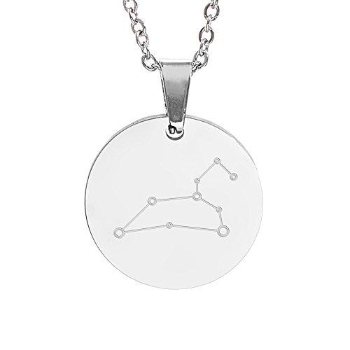 Gravado Halskette aus Edelstahl mit Kreisanhänger und Sternbild Gravur, Damen Schmuck, inkl. Geschenkbox, Länge 50 cm