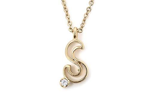 4月誕生石 誕生石 ダイヤモンド イニシャル(S)ネックレス ?10 10金 イエローゴールド +コットンパールネックレス(レビュー書いてCZネックレス,付属品セット プレゼント) 女性