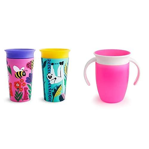 Munchkin Miracle 360° Wildlove - Vaso Antiderrames, Set De 2, Abeja/Lémur, 266 Ml + Miracle 360° Vaso De Entrenamiento Con Asas, Rosa (Pink), 207 Ml