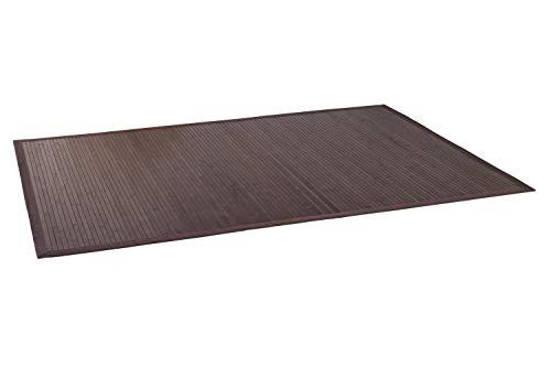DE-COmmerce Bambusteppich WENGE I Küchenteppich Bettumrandung Läufer Bettvorleger Holzteppich Vorleger I Hochwertiger Teppich Wohnzimmer Dunkelbraun 12 Maße I XXL Bordüre 160 x 230 cm