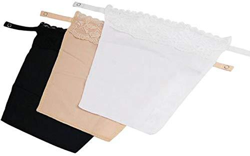 GLAMROOT Women's Cotton Clip-on Mock Lace Camisole Camisecret - Set of 3 (Black, White, Beige, One Size)