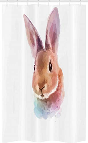 ABAKUHAUS Hase Schmaler Duschvorhang, Aquarell-Kunst-Kaninchen-Kopf, Badezimmer Deko Set aus Stoff mit Haken, 120 x 180 cm, Hellbraun Lila
