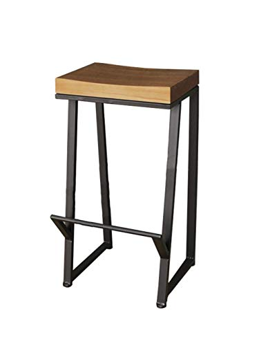 ZHyizi barstoel, hoge kruk, kunstframe van zwart ijzer, ergonomische, minimalistische loftstijl, rechthoekige tuinstoel
