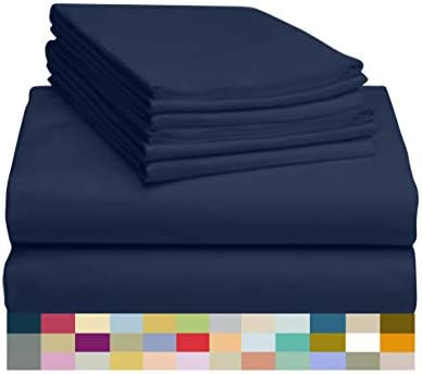 LuxClub 6 PC Sheet Set Bamboo Sheets Deep Pockets 18 Eco Friendly Wrinkle Free Sheets Machine product image
