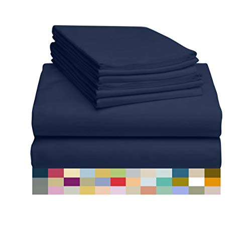LuxClub 6 PC Sheet Set Bamboo Sheets Deep Pockets 18' Eco Friendly Wrinkle Free Sheets Machine Washable Hotel Bedding Silky Soft - Navy Queen