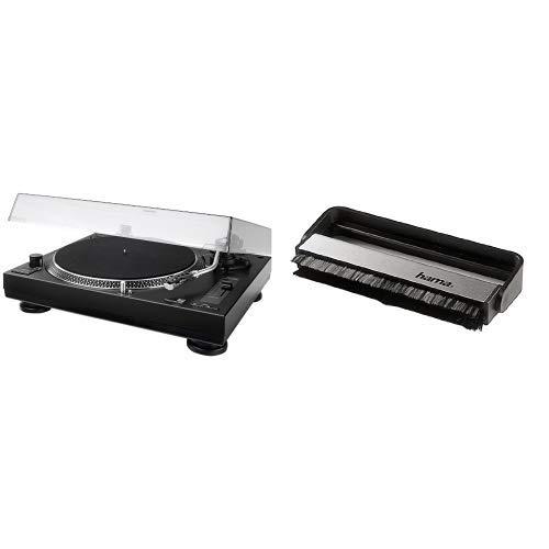 Dual DTJ 301.1 USB DJ-Plattenspieler, schwarz + Hama Carbon-Faserbürste für Langspielplatten (antistatisch Schallplatten reinigen, Vinylbürste), schwarz/silber