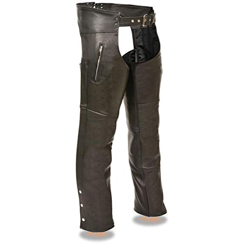 Milwaukee Leather LKM5782 Men's Black Leather Chaps with Dual Side Zippered Thigh Pockets - Large