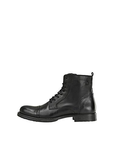 JACK & JONES Jfwrussel Leather 19, Bottes Motardes Homme, Gris (Anthracite Anthracite), 44 EU