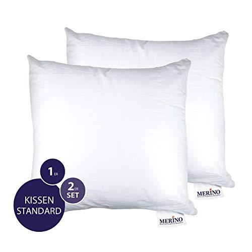 MERINO BETTEN Premium Kopfkissen 35x35 Set | Couchkissen | Kissenhülle versteppt ohne Reißverschluss | Serie Standard