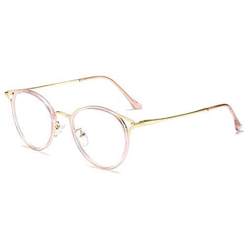 WEIDD Gafas De Computadora, Reducen La Fatiga Ocular, Luz Azul, Gafas De Juego Gafas De Metal Retro Marco Espejo Plano Gafas De Luz Anti-Azul Orejas De Gato Marco Transparente Marco De Oro Rosa