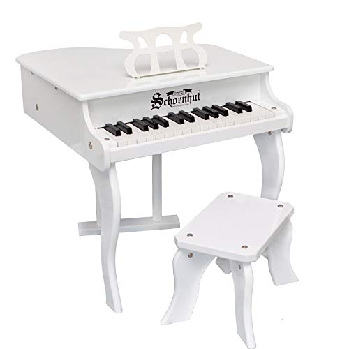 Schoenhut Fancy Baby Grand Piano - 30-Key Keyboard Piano with Bench - Kids Musical Instruments Promote Hand-Eye Coordination - Play and Learn White Piano with Patented Learning System