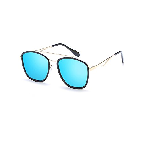 LLZTYJ zonnebril, wind, parasol, strand, outdoor, verjaardag, geschenk, Valentijnsdag, dames/zonnebril, rond, voor gezicht, box, zwart, gletsblauw (tas + stof)