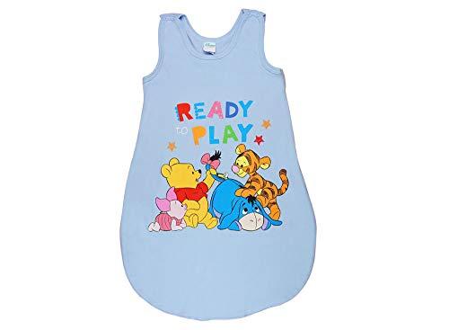 Disney Baby- und Kinder- SOMMER-SCHLAFSACK ÄRMELLOS Baumwolle UNGEFÜTTERT,GRÖSSE 56-62, 68-74, 80-86, 92-98, 104-110 Bein-Freiheit Farbe Blau, Größe 56/62