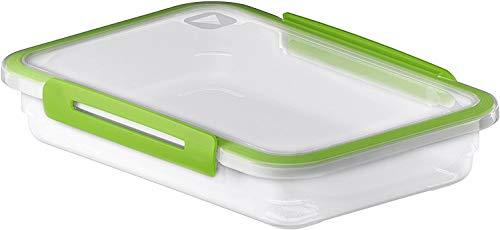 Rotho Memory rechteckige Frischhaltedose 0,9l mit Deckel, Kunststoff (PP) BPA-frei, transparent/grün, 0,9l (23,0 x 16,0 x 4,7 cm)