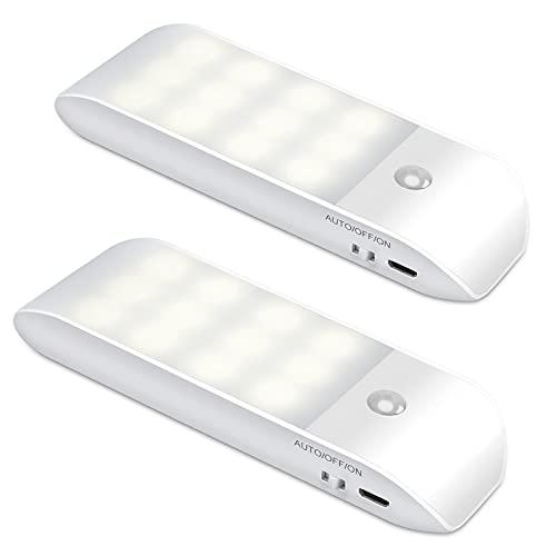 Luz Nocturna, Luces LED Armario con Sensor Movimiento (2 PCs con 24 LED), Lámpara Nocturna Recargable con 3 Modos, Luz Cálida para Armario, Pasillo, Escalera, Sótano, Cocina, Garaje, Gabinete