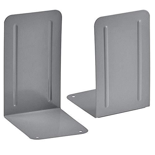 Acrimet Premium Buchstützen aus Metall Rutschfest Schwerlast 17.5 x 10 x 11.7 cm (Grau) (1 Paar)