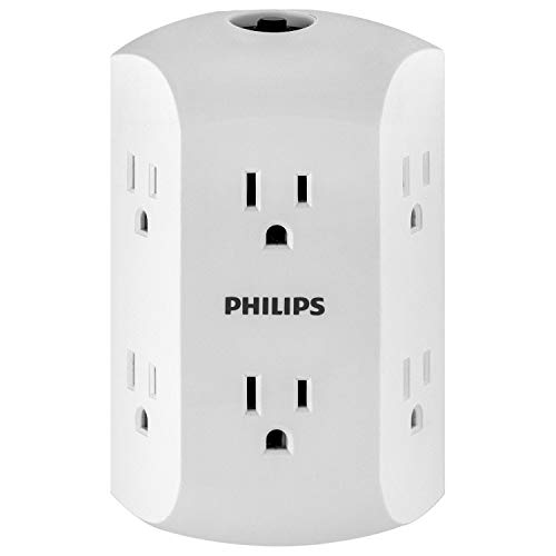 Philips 6 Outlet Wall Charger, Resettable Circuit Breaker, Grounded, Multi Outlet, Side Access, Space Saving Design, Wall Tap, White, SPS1460WA/37