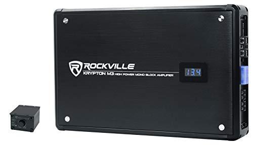 Rockville Krypton-M3 4000w Max/1000w RMS Mono 1 Ohm Car Amplifier Amp+Remote