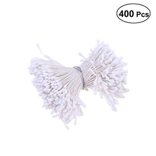 VOSAREA 400pcs/set Flower Stamen Artificial Pearlized Floral Stamen for Flower Making Scrapbook Decoration(White)