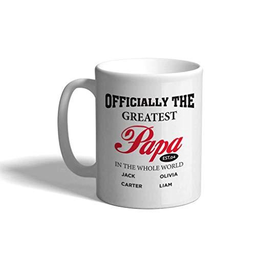 Taza de café personalizada 11 onzas papá oficialmente la mejor taza de té del día del padre del día del padre del mundo de papá