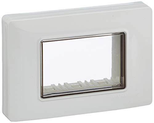 Vimar 0R14943.01 Calotta da parete IP55, 3 moduli Eikon, Arké e Plana, con viti, per scatole da incasso 3 moduli, bianco