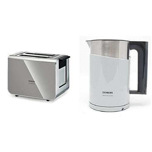 Siemens TT86105 Toaster 860 Watt für 2 Scheiben Toast, wärmeisoliertes Gehäuse, urban grau & TW86105P Wasserkocher (2400 Watt, 1,5 Liter, sensor for senses mit Edelstahlapplikation) urban grau/schwarz