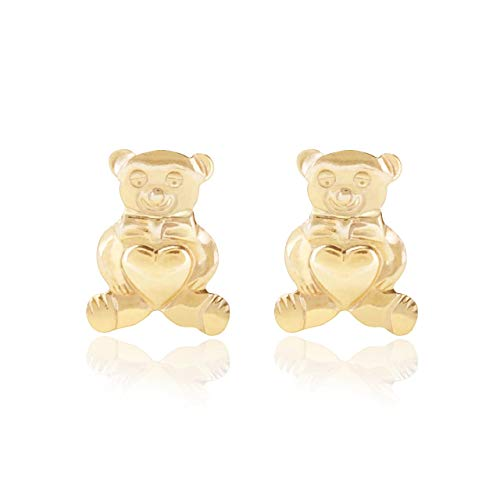 9ct yellow gold teddy bear heart Andralok stud earrings/novelty gift box included