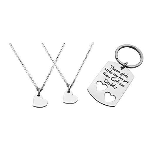 Eilygen Father Daughter Gifts Daddy Daughter Necklace Key Chain Set Hand Stamped Stainless Steel Dog Tag and Heart Charm (These Girls Stole My Heart They Call Me Daddy)