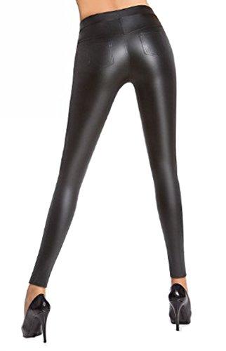 Pariser-Mode Treggings,Leggings matt schwarz in Leder-Optik im Stil Einer 5-Pockets-Jeans