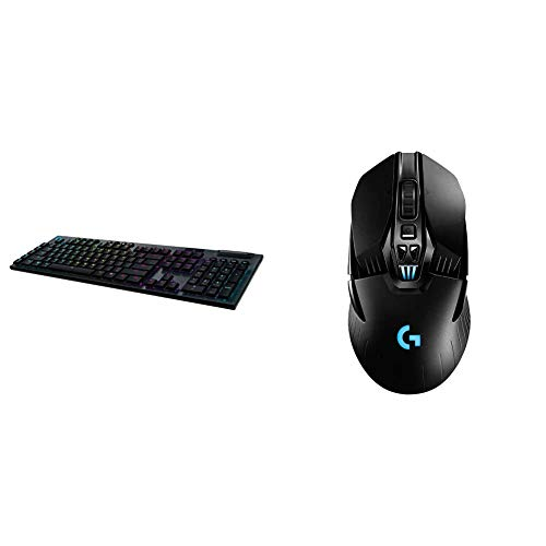 Logitech G915 Wireless Mechanical Gaming Keyboard (Linear) & G903 Lightspeed Wireless Gaming Mouse W/Hero 25K Sensor, PowerPlay Compatible, 140+ Hour with Rechargeable Battery and Lightsync RGB