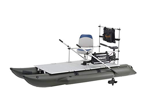 AQUOS 2021 Heavy-Duty for Two 11.5ft Inflatable Pontoon Boat with Stainless Steel Guard and Folding Seat and Haswing 24V 85LBS Transom Trolling Motor for Fishing