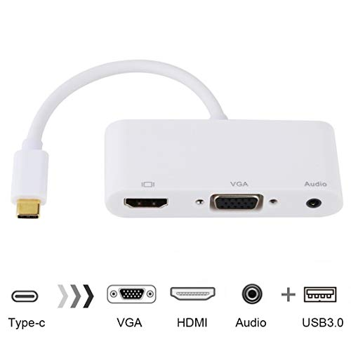 LUOKANGFAN LLKKFF Networking Products USB 2.0 + Audio Port + VGA + HDMI to USB-C/Type-C HUB Adapter (Black) USB Type-C Series (Color : White)