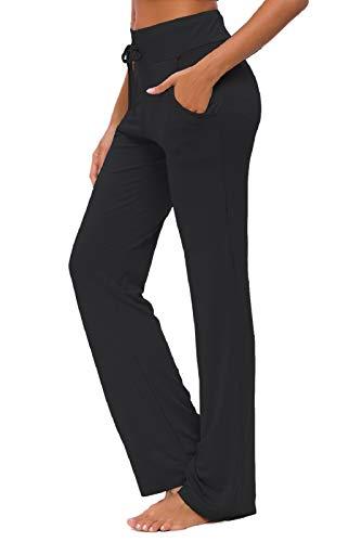 KESSER Damen Yogahose mit Taschen Straight Leg Jogginghose Bequeme Modal Kordelzug Lounge Running Lange Aktive Hose, Schwarz, XL