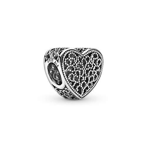 Pandora Moments Filigranarbeit & Metallperlen Herz-Charm Ewige Liebe Sterling Silber 791811