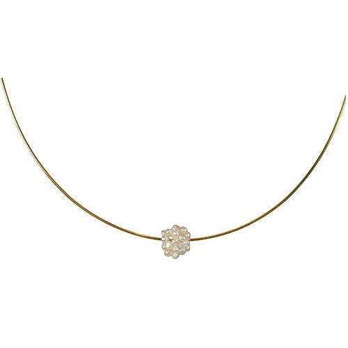 Funk-Halsspiralen 925oo Silber vergoldeter Omega Reif, mit weissen Süsswasser Zuchtperlen, ca. 45 cm