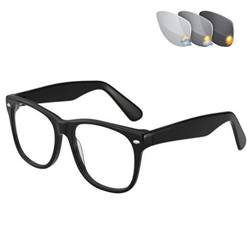 DOUBLX Gafas De Lectura Fotocromáticas, Gafas De Sol Fotocromáticas De Transición, Montura Redonda, Doble Uso Para Protección UV Al Aire Libre, Gafas De Lectura Para Computadora,Black02,+1.5