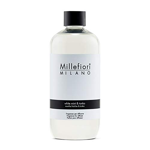 Millefiori 7REWT White Mint und Tonka Nachfüllflasche 500 ml für Raumduft Diffuser Natural, Plastik, Weiß, 7.3 x 8 x 17.7 cm