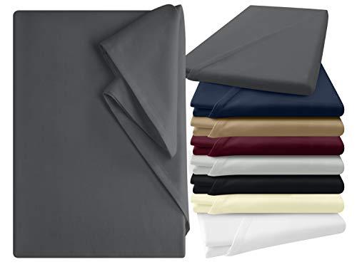 npluseins Bettlaken - 100% Baumwolle - in 6 Farben - in 3 verschiedenen Größen - Haushaltstuch ohne Spanngummi, ca. 150 x 250 cm, anthrazit