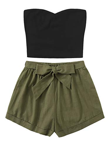 Floerns Women's 2 Piece Outfit Summer Plain Tube Crop Top with Shorts A Multi M