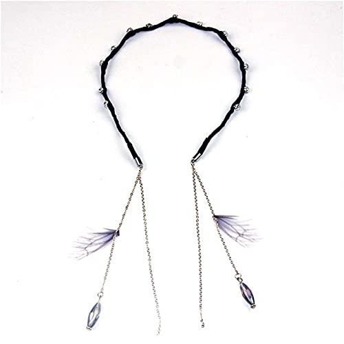 jiarun Pendientes falsos de borla para el pelo, banda para el pelo, pendientes con diamantes de imitación, diadema, tocado para mujer, accesorios para el cabello (color negro)