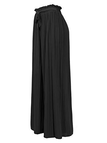 Design by Olivia Women's Ribbon Tie Chiffon Loose Pleated Wide Leg Palazzo Pants Black 3XL